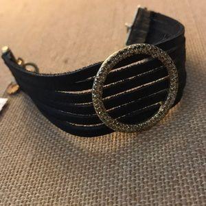 NEW pave stone leather multi strand bracelet